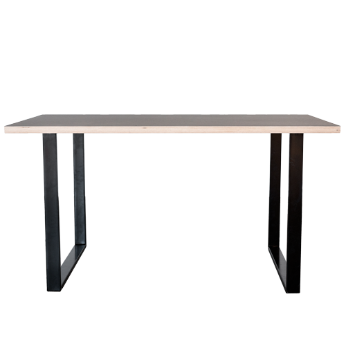 Skrivebord med linoleums bordplade og sorte u-shaped bordben