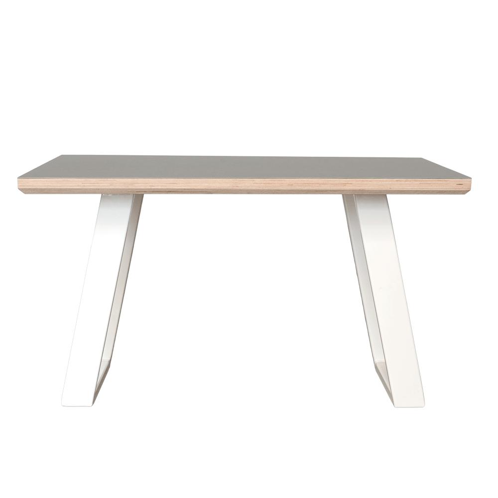 Sofabord med hvide u-shaped cancave boreben og linoleums bordplade med facet