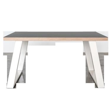 Sofabord med hvide u-shaped concave bordben i metal med linoleums bordplade