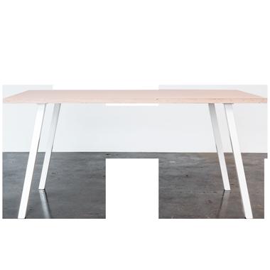 Spisebord med hvide concave bordben og linoleums bordplade