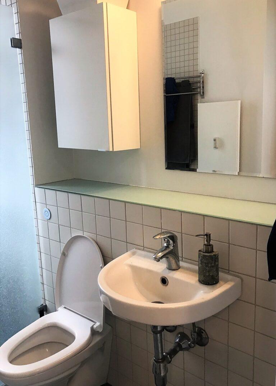 Opbevaringsløsning til badeværelse med pistchio farvet linoleum