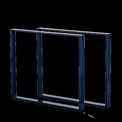 U-shaped bordben i farven Midnight Blue, står frit på et beton gulv foran en hvid væg